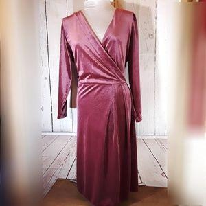 A New Day   Mauve Velvet Wrap Style Dress   XXL